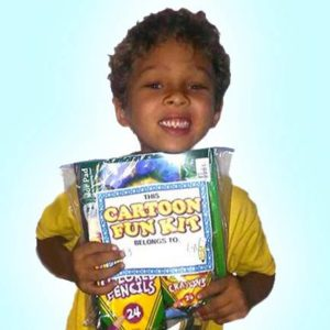 Our FREE gift packs contain art supplies that are safe and fun for the children to use.